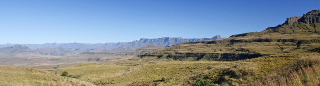 Panoramic views of the Drakensberg Mountains in South Africa
