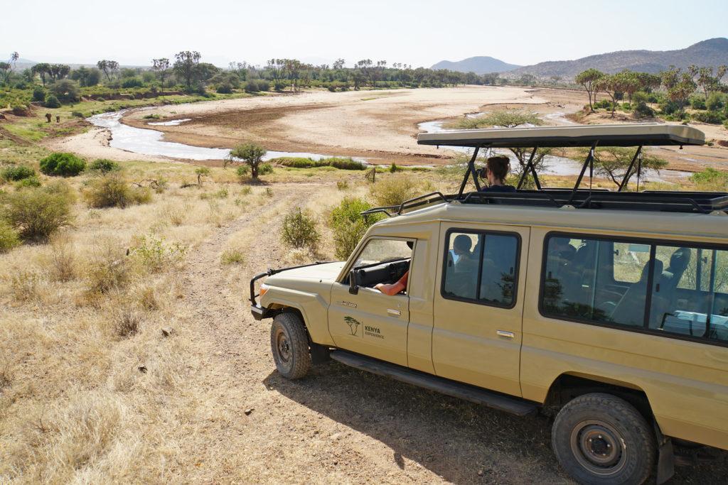 A safari vehilce with open pop-up roof in Samburu National Reserve, Kenya
