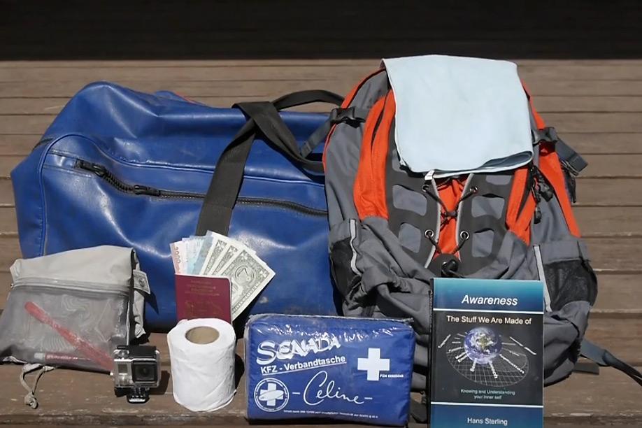 A softshell bag and backpack as luggage on a safari