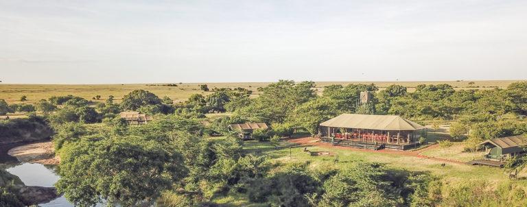 Aerial view of Julia's River Camp and Talek River in the Masai Mara