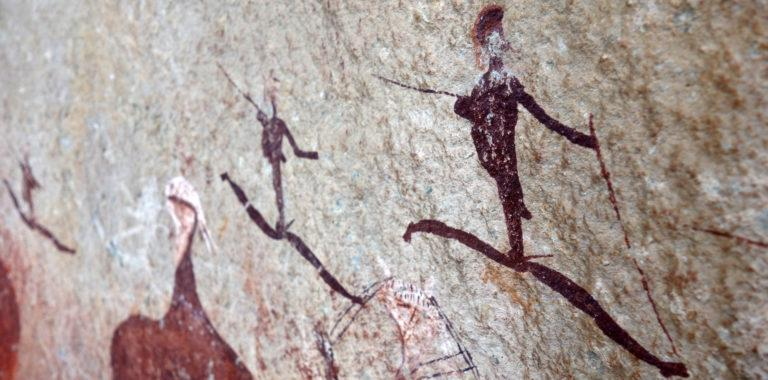 A close-up of ancient rock art paintings of the San/Bushmen in South Africa