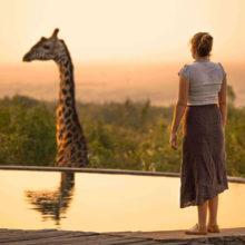 A woman standing at a swimming pool looking at a giraffe