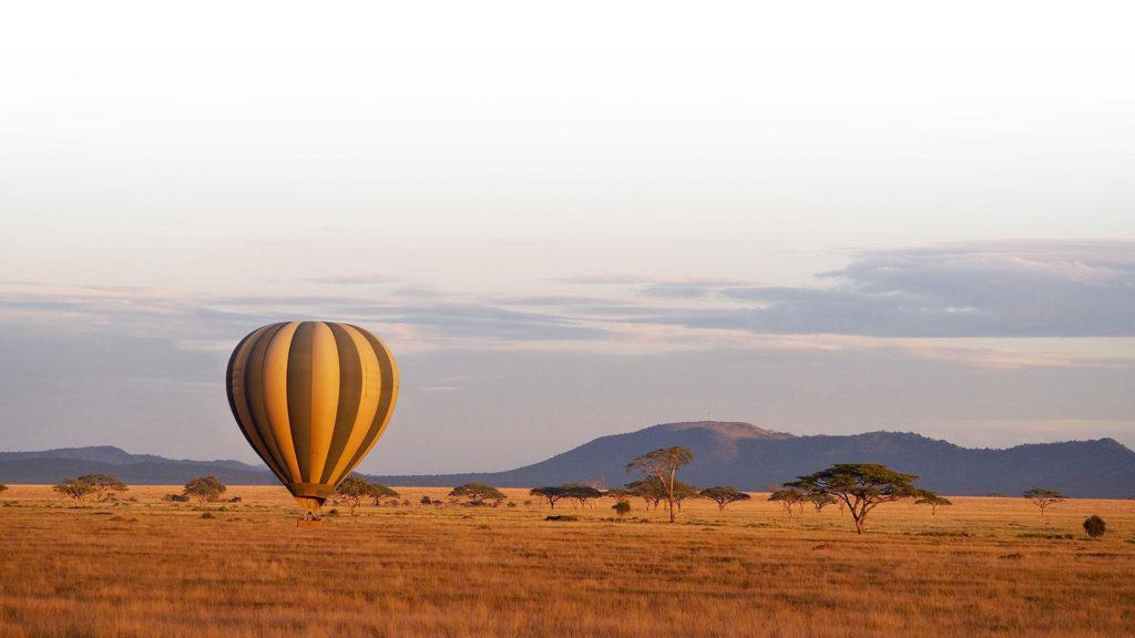 A hot air balloon hovering over the savannah at sunrise