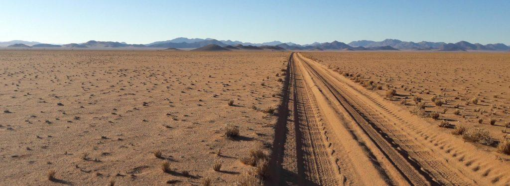 A straight road in the desert sand leading to the horizon
