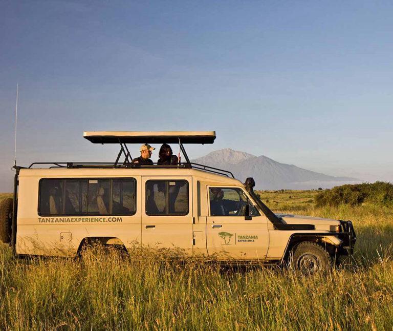 A Toyota Land Cruiser safari vehicle in Tanzania