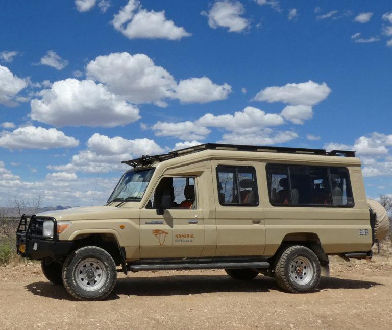 A Toyota Land Cruiser safari vehicle in Namibia