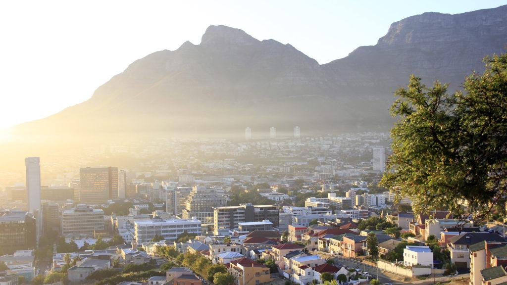 View of Cape Town's City Bowl with Devil's Peak and Table Mountain in the background