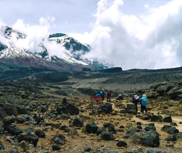 Views of Kibo Peak on Mt Kilimanjaro, Tanzania