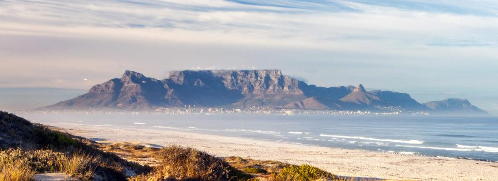 Views of Table Mountain and Cape Town as seen from Blouberg Beach, South Africa