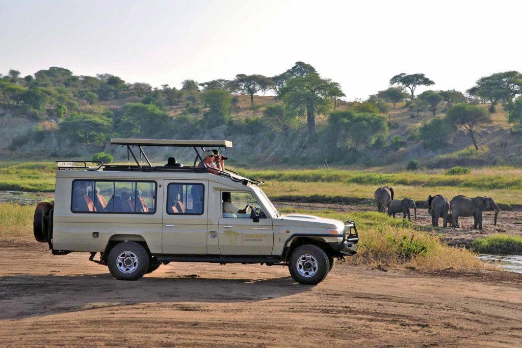 Safari vehicles Tarangire river